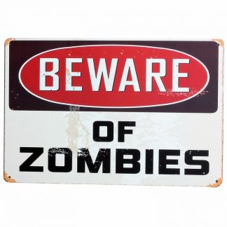 Emaljeskilt Beware of Zombies