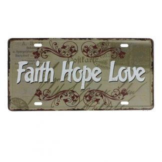 Emaljeskilt Faith Hope Love