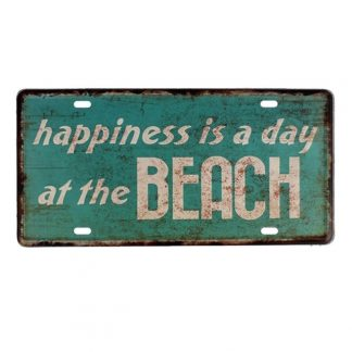 Emaljeskilt Happiness is a day at the Beach