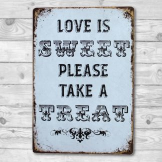 Emaljeskilt Love is Sweet - Take a Treat