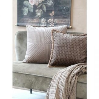 Chic Antique Moulin Pude velour Taupe m. guld mønster
